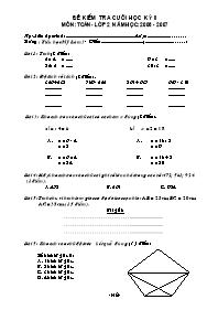 Đề kiểm tra cuối học kỳ II môn Toán Lớp 2