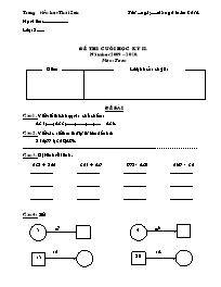 Đề kiểm tra cuối học kỳ II môn Toán Lớp 3 - N