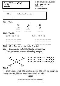 Đề kiểm tra định kì Lần 2 Khối 2 môn Toán - N