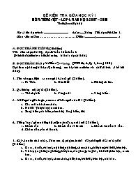 Đề kiểm tra giữa học kì I môn Tiếng Việt Lớp 4
