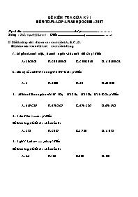 Đề kiểm tra giữa học kì I môn Toán, Tiếng Việt Lớp 4