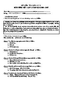 Đề kiểm tra giữa học kì II môn Tiếng Việt Lớp 3