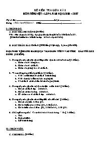 Đề kiểm tra giữa học kì II môn Tiếng Việt Lớp