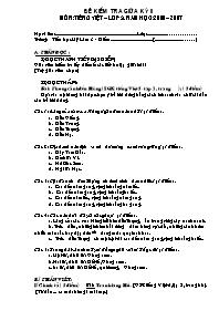 Đề kiểm tra giữa học kì II môn Toán, Tiếng Việt Lớp 5
