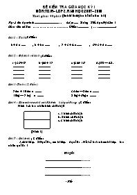 Đề kiểm tra giữa học kỳ I môn Toán Lớp 2 (Có