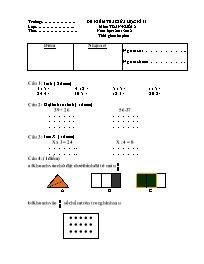 Đề kiểm tra giữa học kỳ II môn Toán Lớp 2 - N