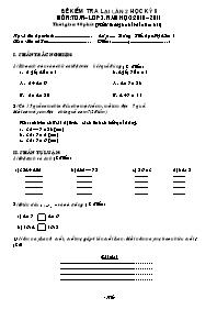 Đề kiểm tra lại lần 2 học kì II môn Toán Lớp 3